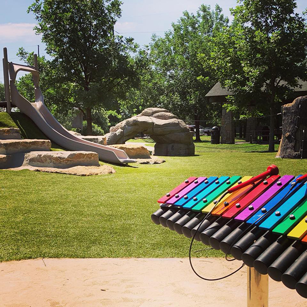 Close up photo of the rainbow cavatina outdoor xylophone in the music park at Frisco Lake Park