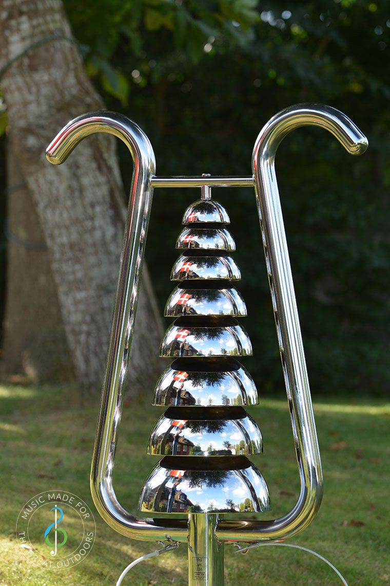 Shiny Stainless Steel Bell Lyre Outdoor Chime