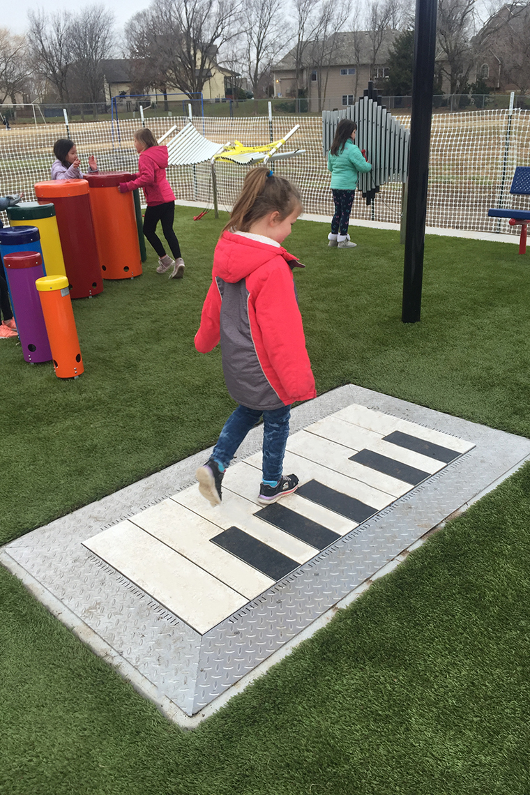 Outdoor Floor Piano at the ADA Accessible Music Garden in Park Hill Elementary School Derby Kansas