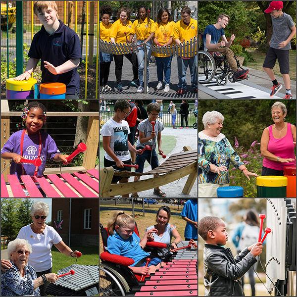 Collage of nine people playing outdoor musical instruments from including elderly, wheelchair users, school children