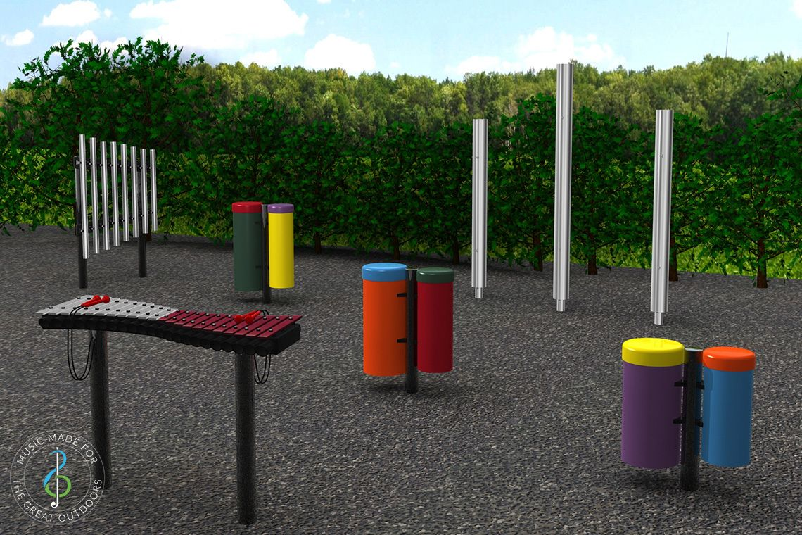 Render of Outdoor Chimes, Drums and Xylophone in Playground