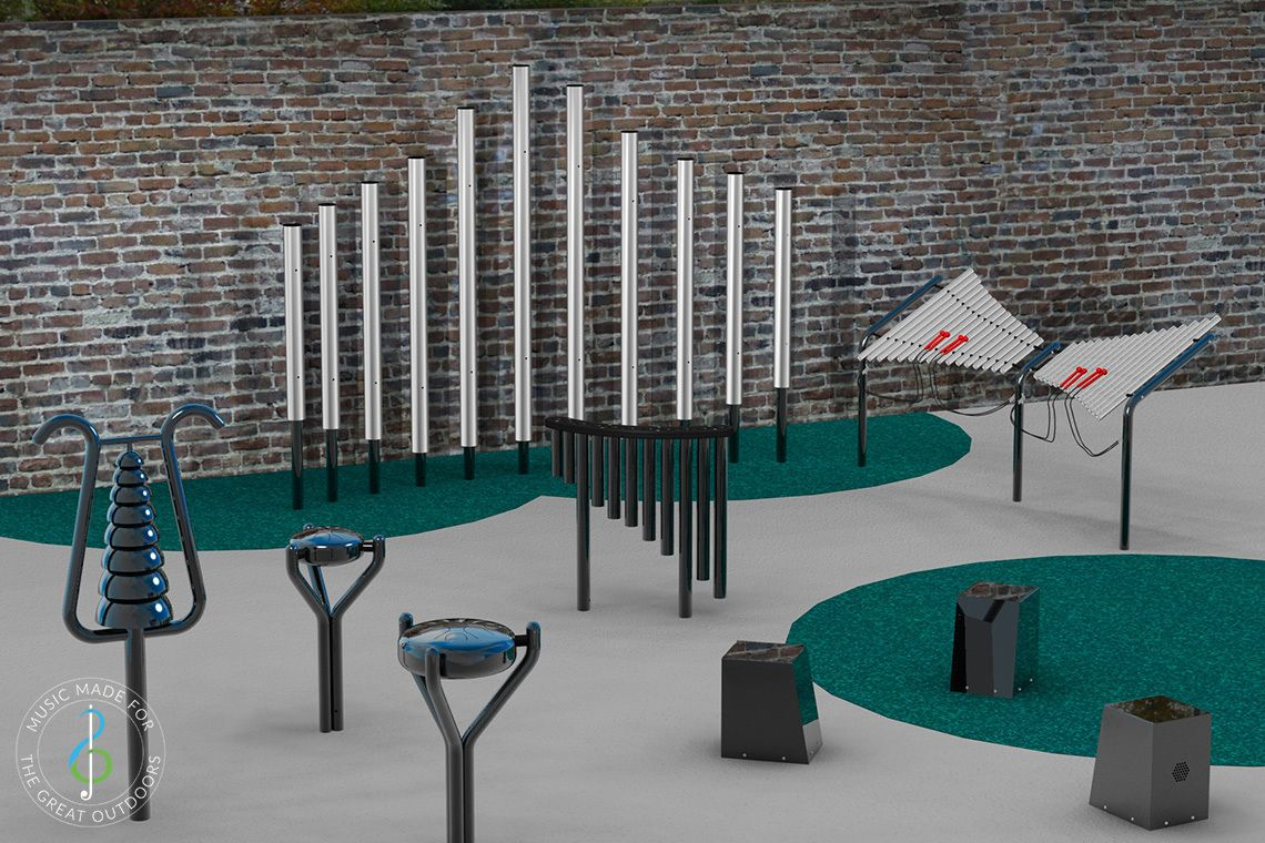 rendered image of outdoor musical instruments installed oin small courtyard