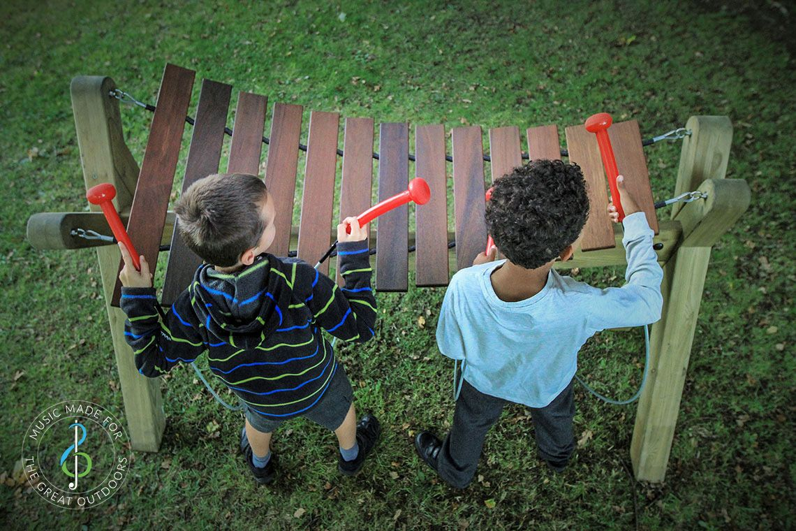 Aerial View of Two Boys Playing Outdoor Akadinda