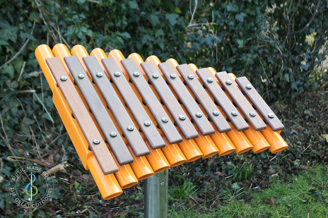 Outdoor Xylophone with Wooden Notes and Orange Resonators