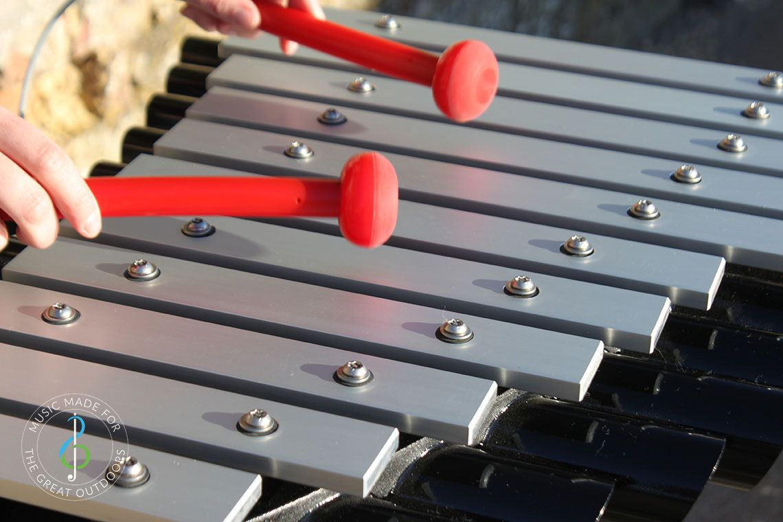 Outdoor Xylophone with Aluminium Notes and Black Resonators